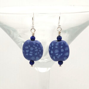 Blue Kazuri bead earrings