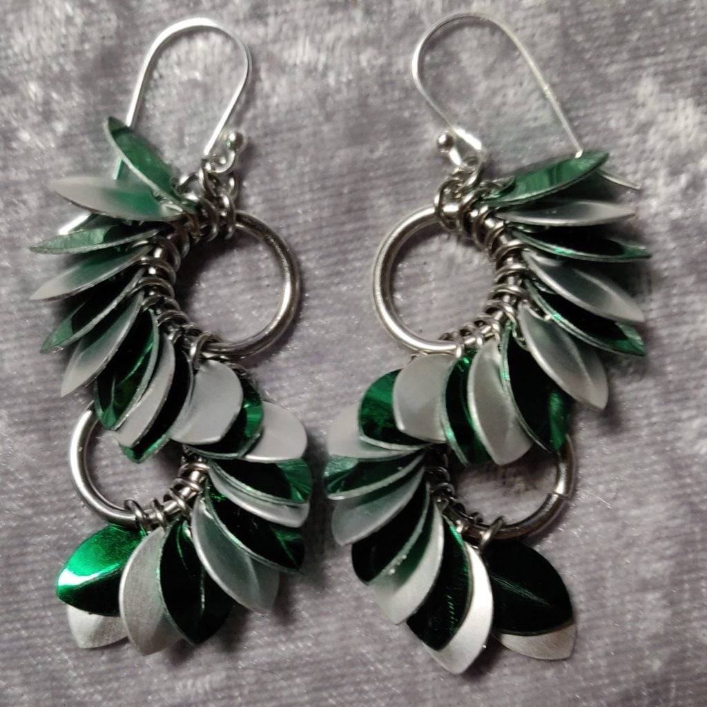 Slytherin Scalemaille Wave Earrings