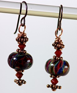 Copper & red lampwork bead earrings